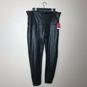 SPANX Pants - NWT Spanx Black Faux Leather Leggings Size 3X